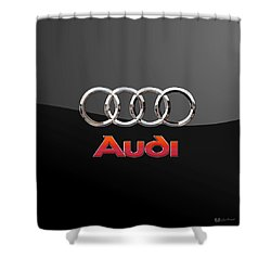 Audi - 3 D Badge On Black Shower Curtain by Serge Averbukh