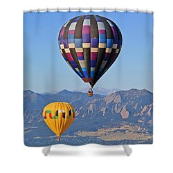 2 Balloons Flying Over The Flatirons Shower Curtain by Scott Mahon