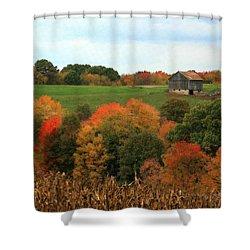 Shower Curtain featuring the photograph Barn On Autumn Hillside by Angela Rath