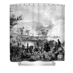 Shower Curtain featuring the drawing Battle Of Gettysburg by War Is Hell Store