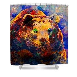 Bear Shower Curtain by Elena Kosvincheva
