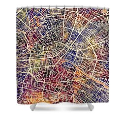 Berlin Germany City Map Shower Curtain