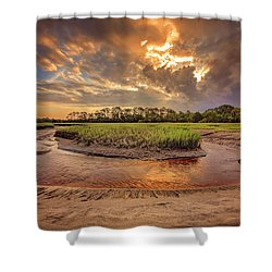 Shower Curtain featuring the photograph Big Talbot Island  by Peter Lakomy