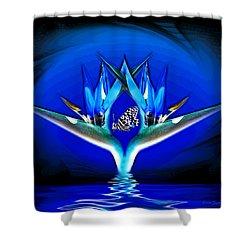 Blue Bird Of Paradise Shower Curtain by Joyce Dickens