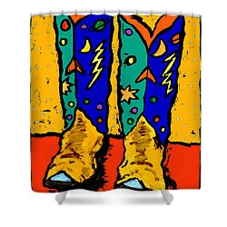 Boots On Yellow Shower Curtain
