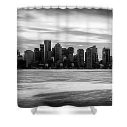 Boston Skyline Black And White Picture Shower Curtain