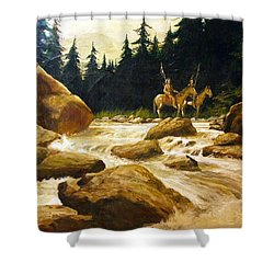 2 Braves By A River Shower Curtain