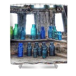 Bromo Seltzer Vintage Glass Bottles  Shower Curtain