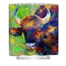 Bull Shower Curtain by Elena Kosvincheva