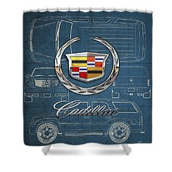 Cadillac 3 D Badge Over Cadillac Escalade Blueprint  Shower Curtain by Serge Averbukh