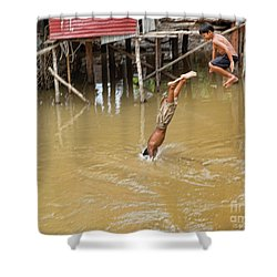 2 Cambodian Boys Dive Color Shower Curtain