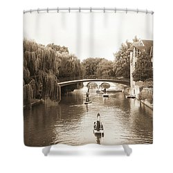 Cambridge River Punting Shower Curtain by Eden Baed
