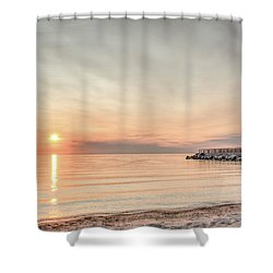 Charelvoix Lighthouse In Charlevoix, Michigan Shower Curtain by Peter Ciro