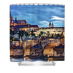 Shower Curtain featuring the photograph Charles Bridge And Prague Castle / Prague by Barry O Carroll