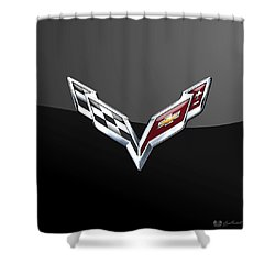 Chevrolet Corvette 3d Badge On Black Shower Curtain