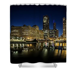 Chicago River And Skyline At Dawn Shower Curtain