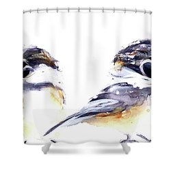 Shower Curtain featuring the painting 2 Chickadees by Dawn Derman