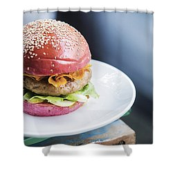 Chicken Burger With Gherkins Beetroot Bread Bun Shower Curtain