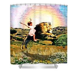 Child Like Faith Shower Curtain by Dolores Develde
