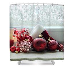 Christmas Windowsill Shower Curtain