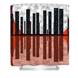 City Skyline At Full Moon Shower Curtain by Michal Boubin