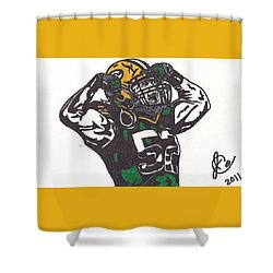 Shower Curtain featuring the drawing Clay Matthews 2 by Jeremiah Colley