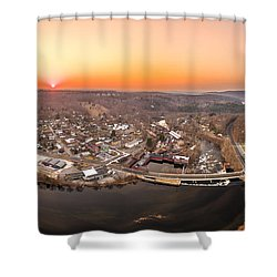 Colinsville, Connecticut Sunrise Panorama Shower Curtain