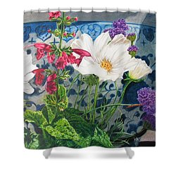 Shower Curtain featuring the painting Cosmos by Karen Ilari