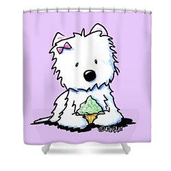 Cupcake Westie Shower Curtain by Kim Niles