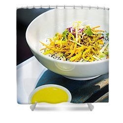 Curry Sauce Vegetable Salad With Noodles And Sesame Shower Curtain