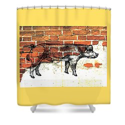 Shower Curtain featuring the photograph Danish Duroc Boar by Larry Campbell
