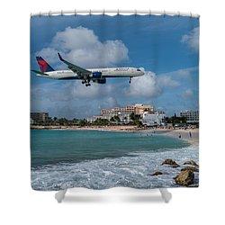 Delta Air Lines Landing At St. Maarten Shower Curtain