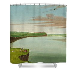 Distant View Of The Mandan Village Shower Curtain