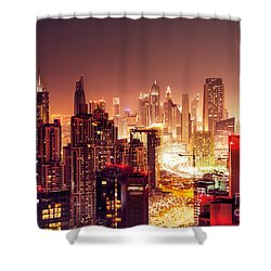 Dubai City At Night Shower Curtain