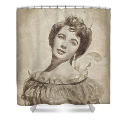 Elizabeth Taylor, Vintage Hollywood Legend By John Springfield Shower Curtain by John Springfield