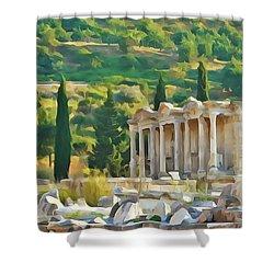 Ephesus Library Shower Curtain
