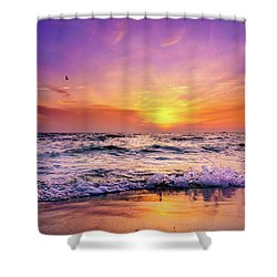 Shower Curtain featuring the photograph Evening Flight by Dmytro Korol