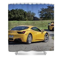 Shower Curtain featuring the photograph #ferrari #458italia #print by ItzKirb Photography