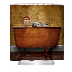 2 Fish And A Jug Shower Curtain by Marty Garland