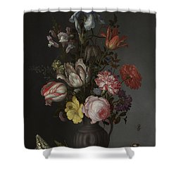 Flowers In A Vase With Shells And Insects Shower Curtain