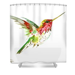 Flying Hummingbird Shower Curtain by Suren Nersisyan