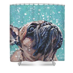 Shower Curtain featuring the painting French Bulldog by Lee Ann Shepard