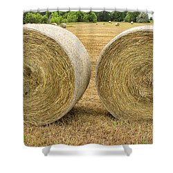 2 Freshly Baled Round Hay Bales Shower Curtain by James BO  Insogna