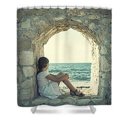 Girl At The Sea Shower Curtain by Joana Kruse