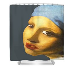 Shower Curtain featuring the painting Girl With Pearl Earring Face by Jayvon Thomas