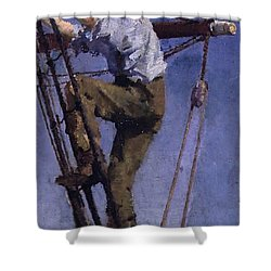Shower Curtain featuring the painting Going Aloft by Henry Scott Tuke