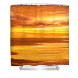 Golden Panoramic Sunset Shower Curtain