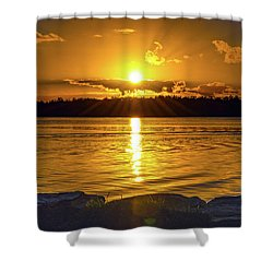 Golden Sunrise Waterscape Shower Curtain