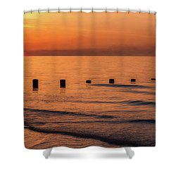 Shower Curtain featuring the photograph Golden Sunset by Adrian Evans