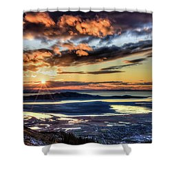 Shower Curtain featuring the photograph Great Salt Lake Sunset by Bryan Carter